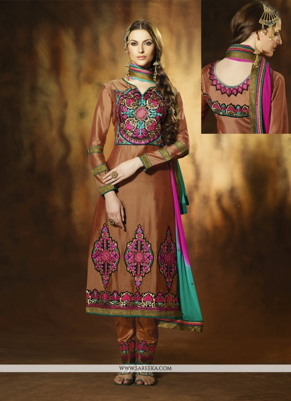 Brown Art Silk Pant Style Suit
