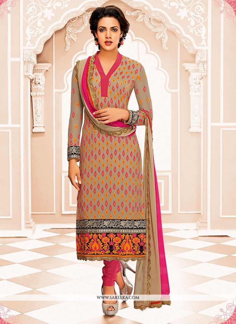 Brown Georgette Churidar Suit