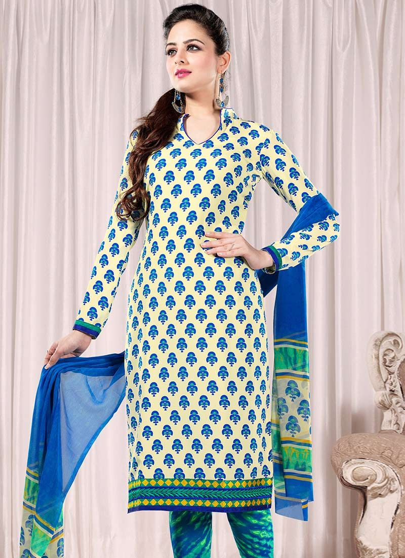 Cream And Blue Faux Crepe Churidar Suit