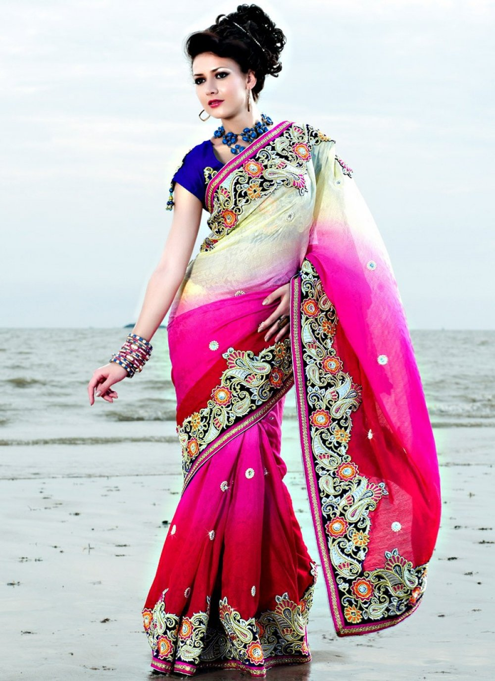 Cream And Magenta Embroidered Worked Saree