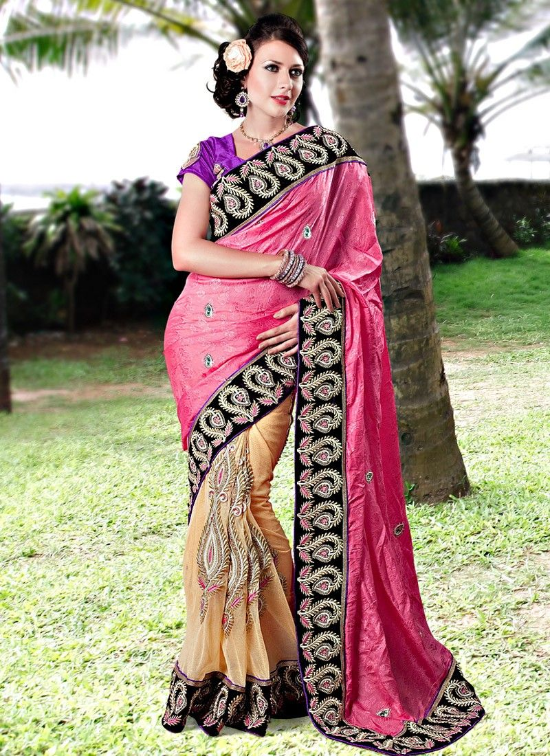 Cream And Pink Embroidered Net Wedding Saree