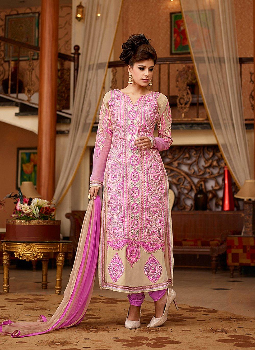 Cream And Pink Resham Work Georgette Churidar Suit