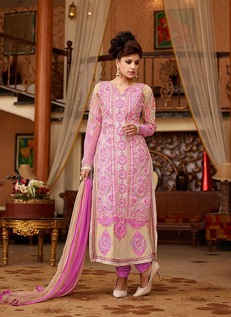 Cream And Pink Resham Work Georgette Churidar Suit