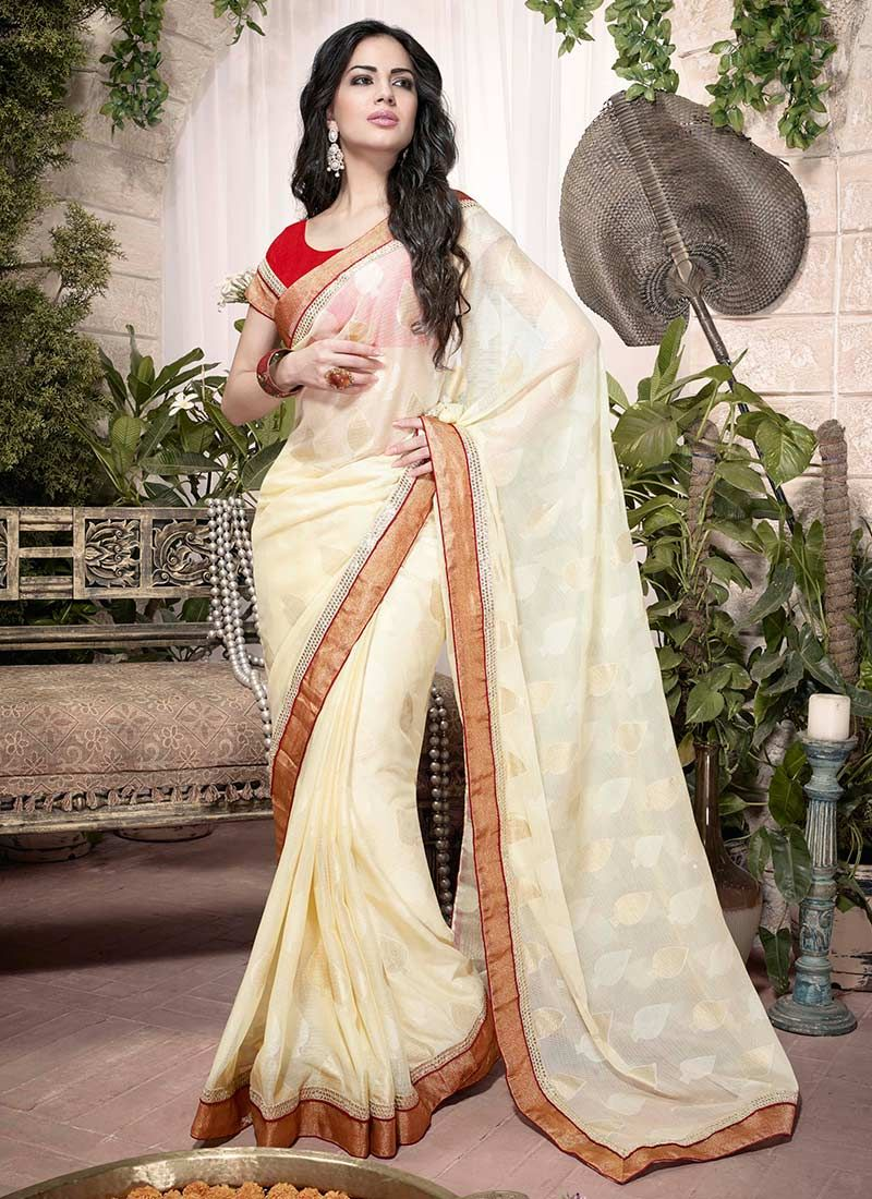 Cream Patch Border Brasso Saree