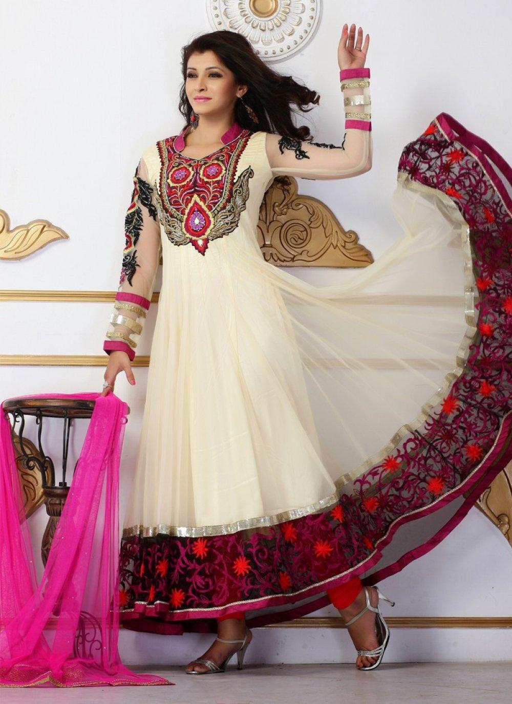 Cream Patch Border Work Net Anarkali Suit