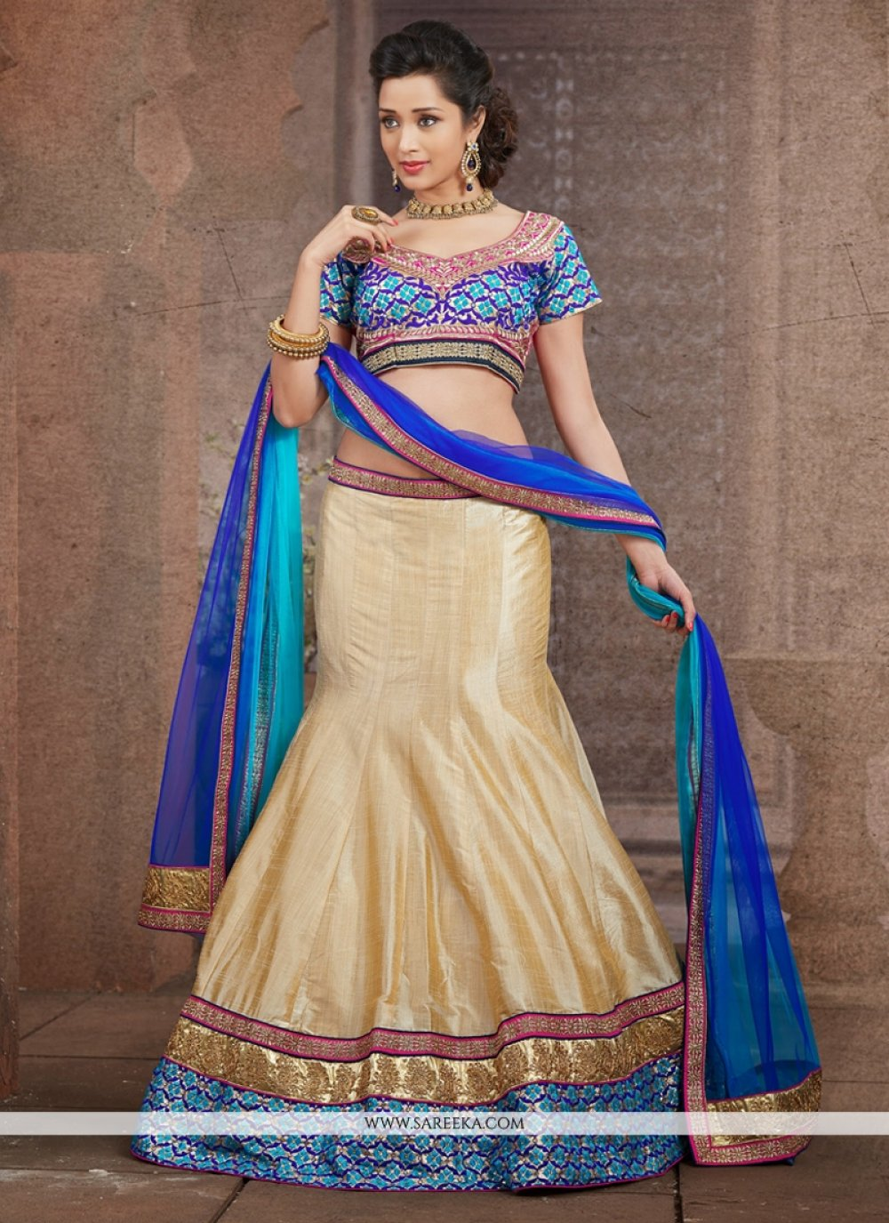 Cream Silk Designer Lehenga Choli