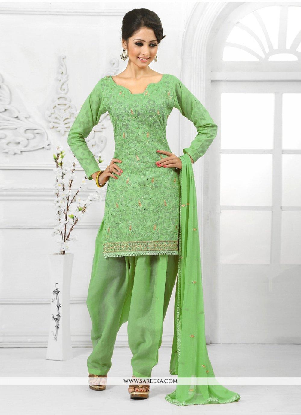 Embroidered Work Green Cotton   Salwar Suit