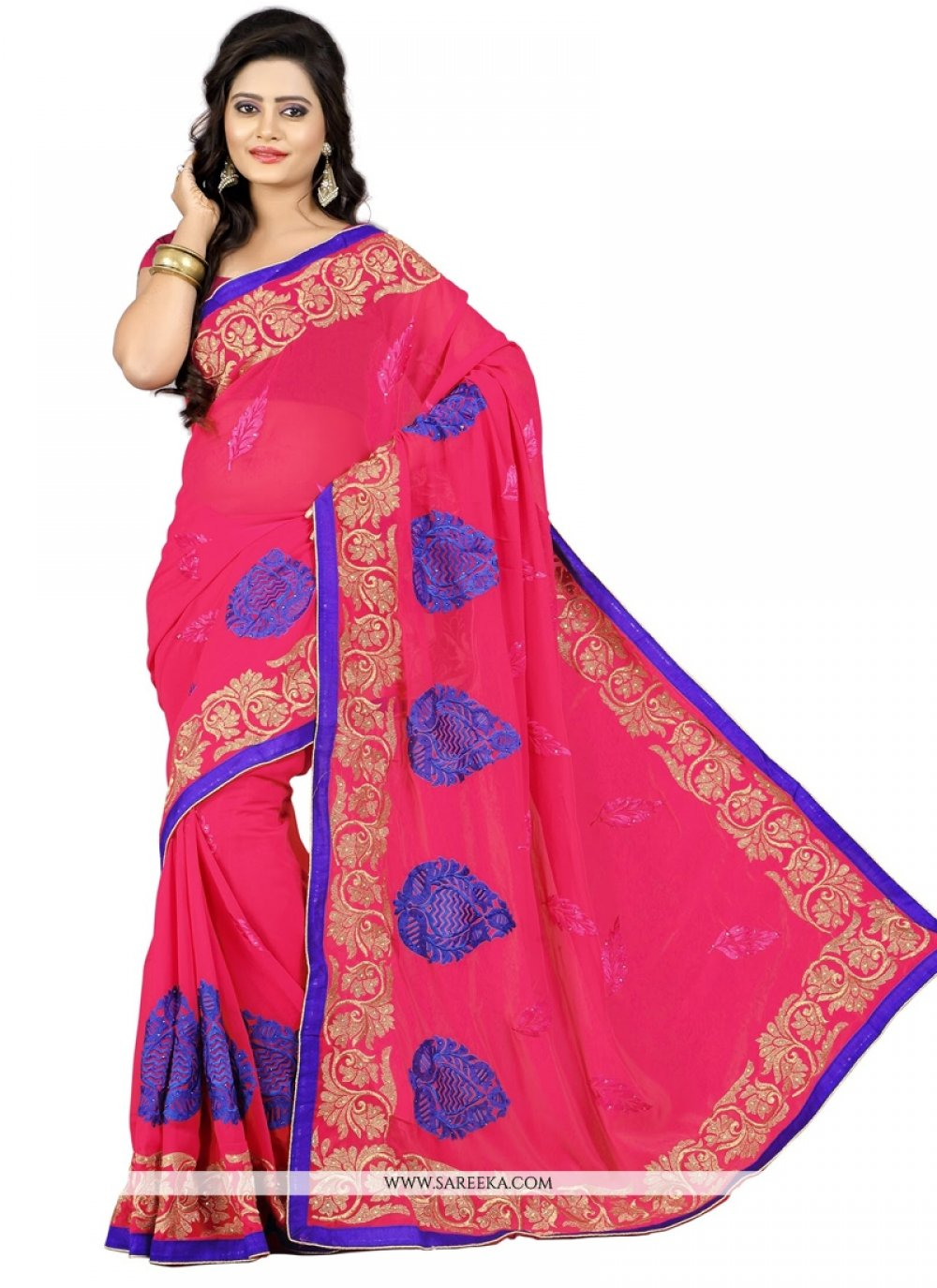 Embroidered Work Hot Pink Fancy Fabric Designer Saree