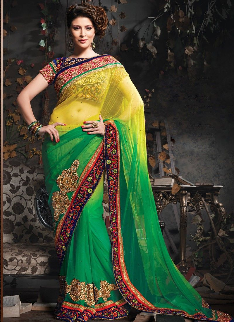 Green And Yellow Stone Work Wedding Saree
