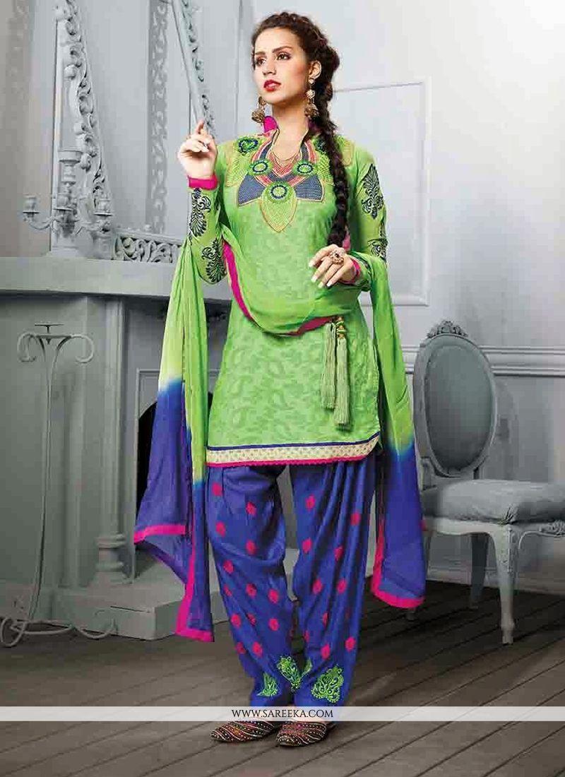 Green Cotton Jacquard Punjabi Suit