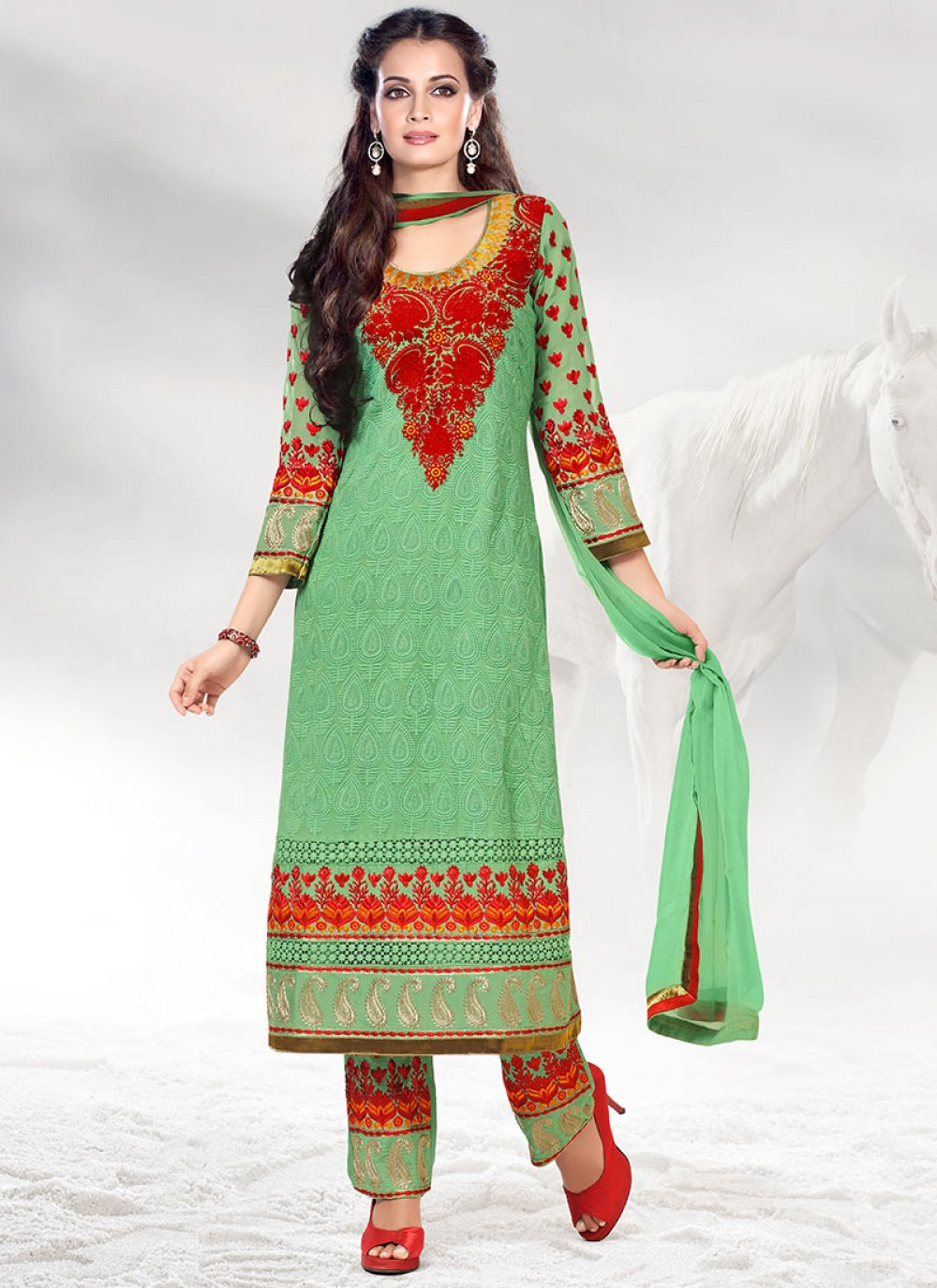 Green Dia Mirza Embroidered Churidar Suit