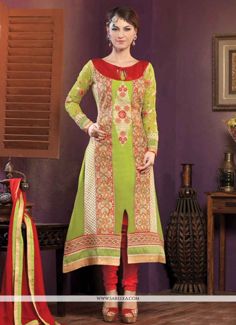 Green Georgette Churidar Salwar Suit