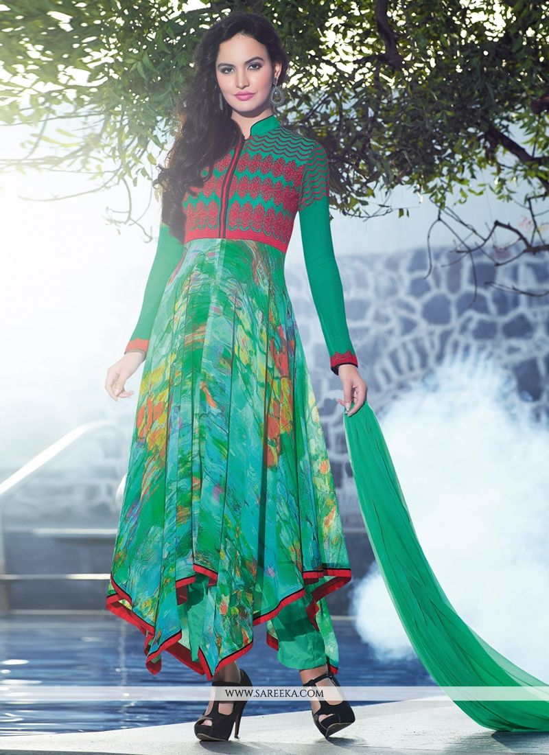 Green Printed Anarkali Suit