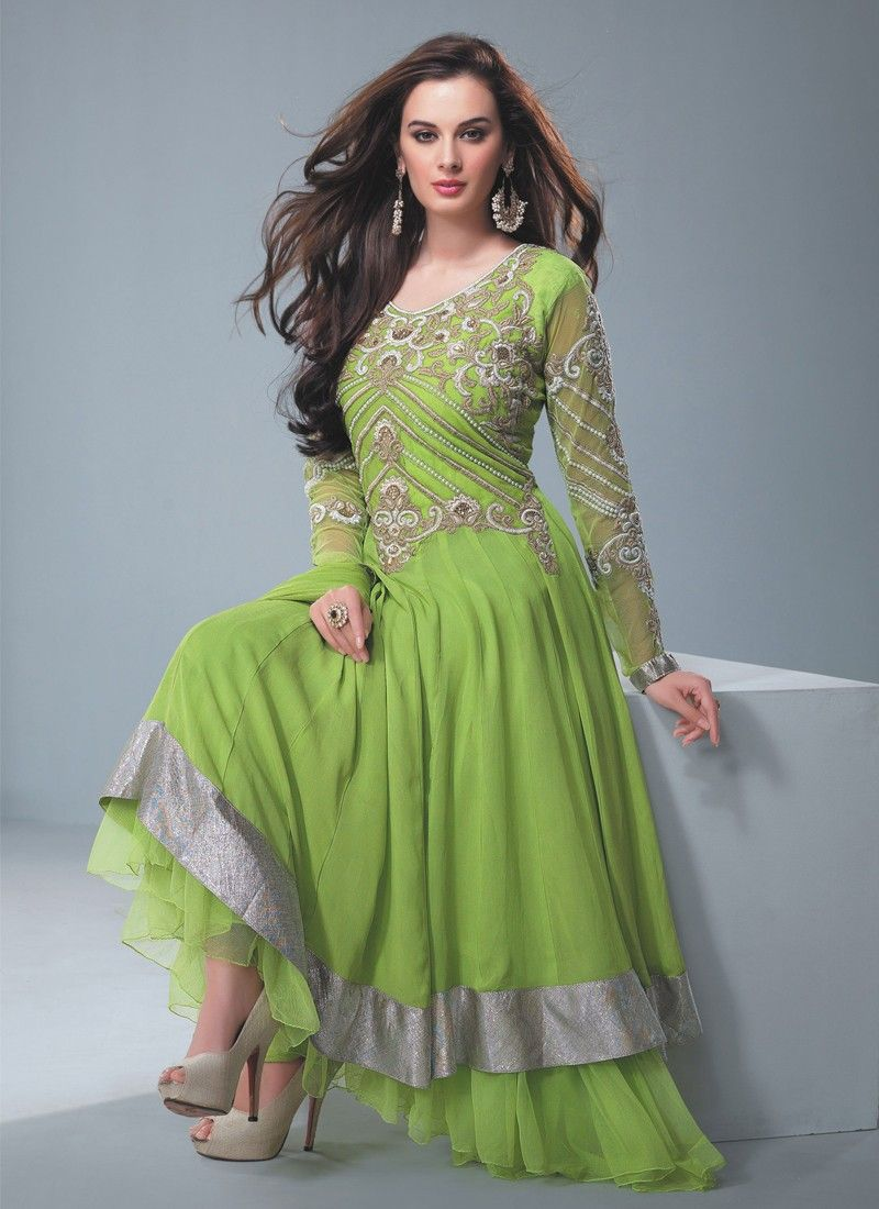 Green Zari Work Faux Georgette Anarkali Suit