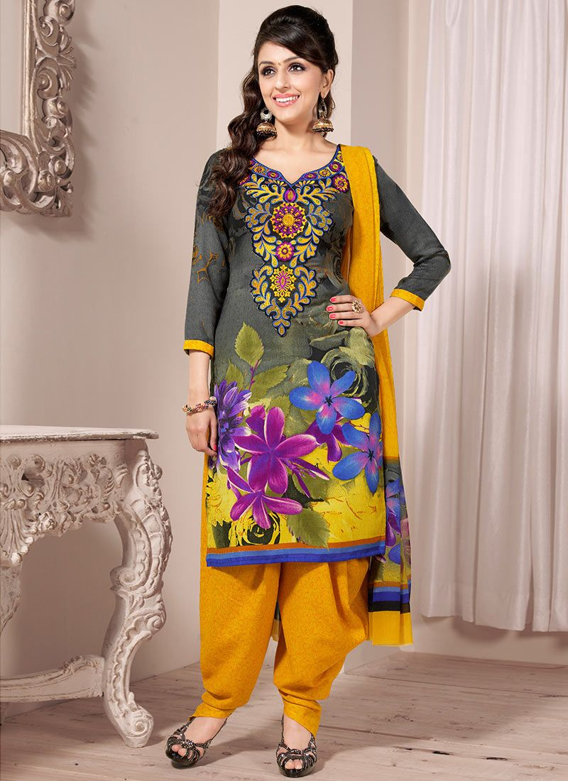 Grey And Mastard Printed Salwar Suit