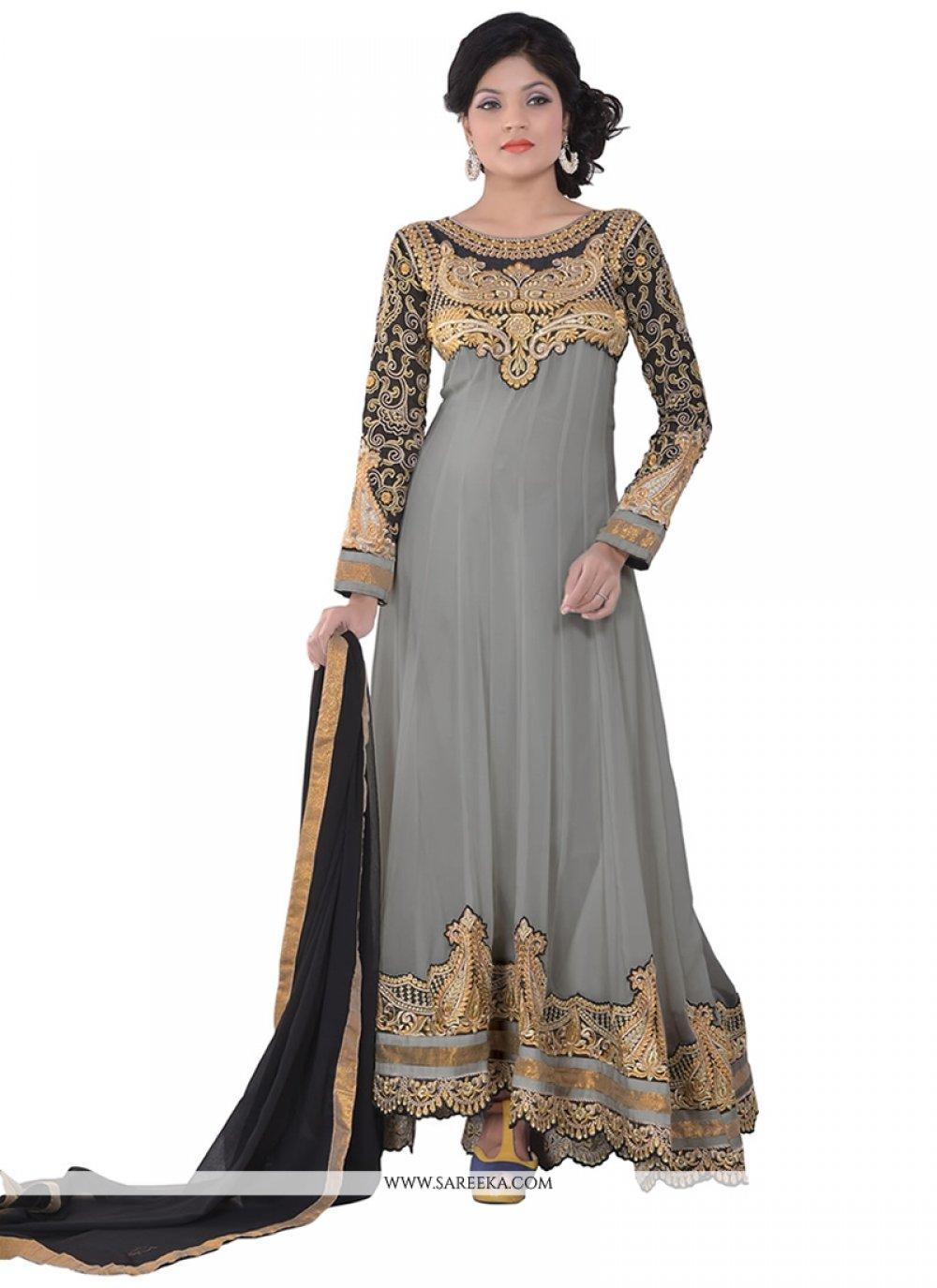 Grey Georgette Anarkali Salwar Suit