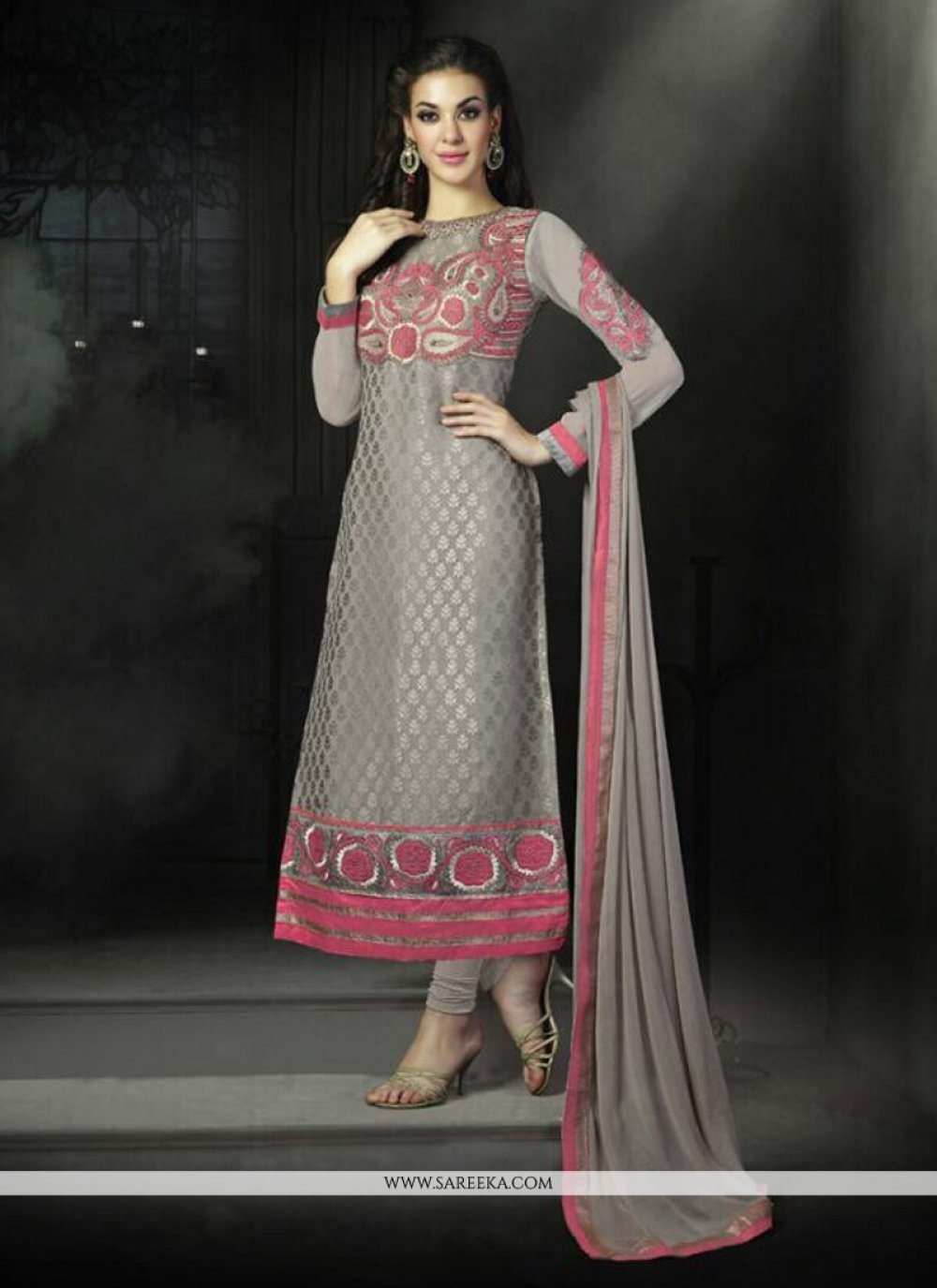 Grey Georgette Churidar Salwar Suit