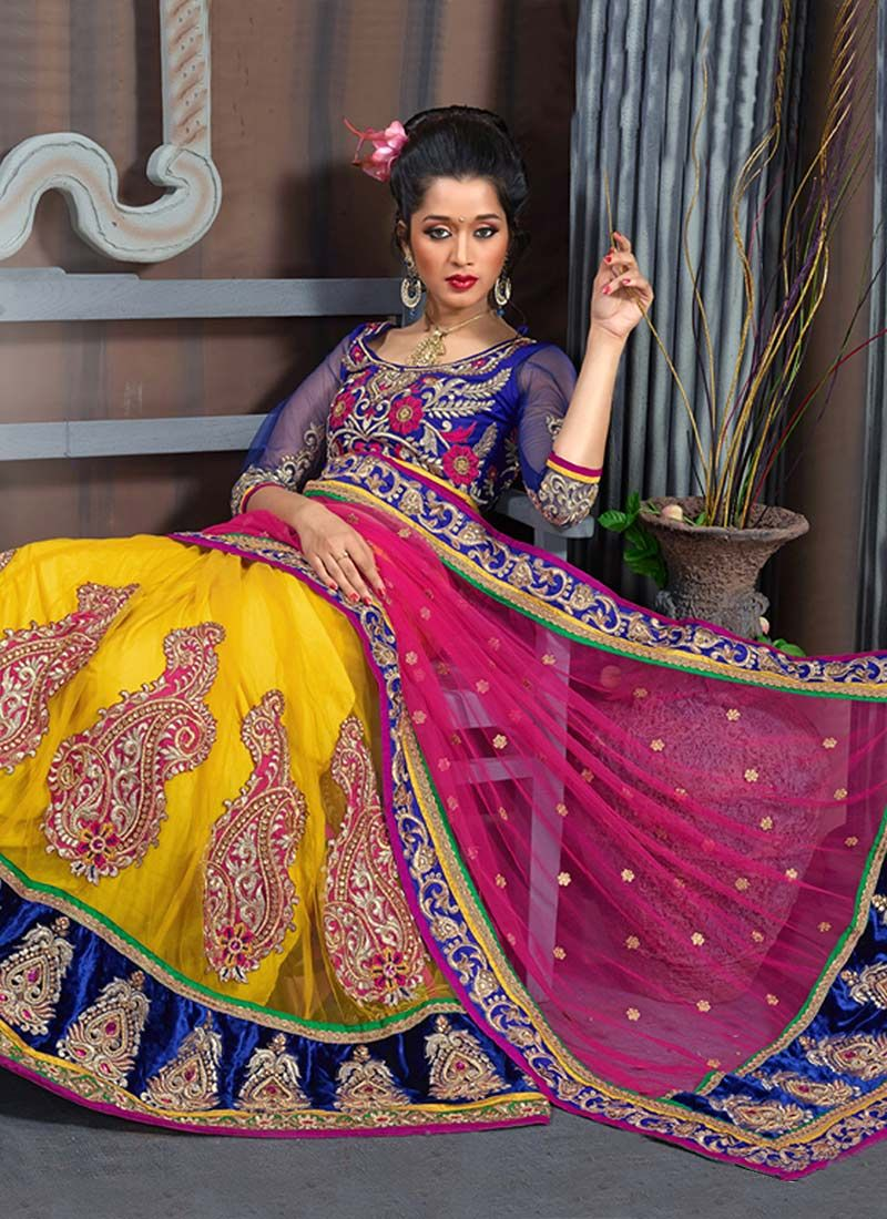Magenta And Yellow Net Lehenga Saree