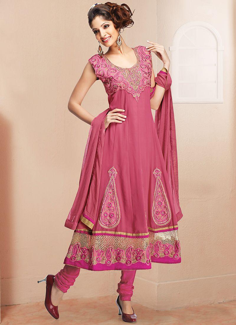Magenta Embroidery Work Anarkali Salwar Suit