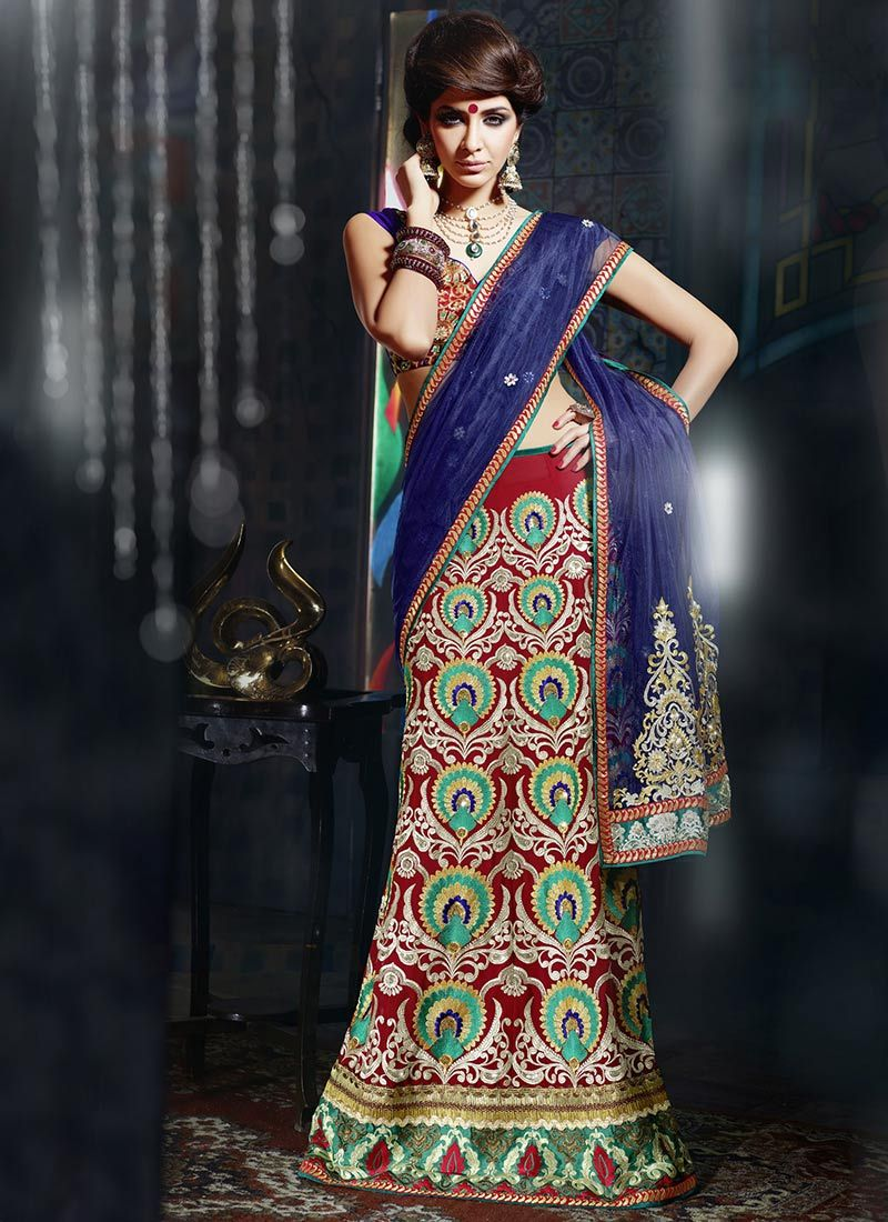 Maroon And Blue Net Lehenga Saree