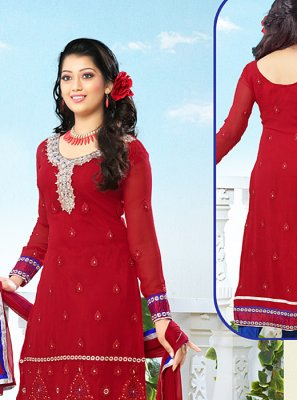 Maroon Resham Work Churidar Suit