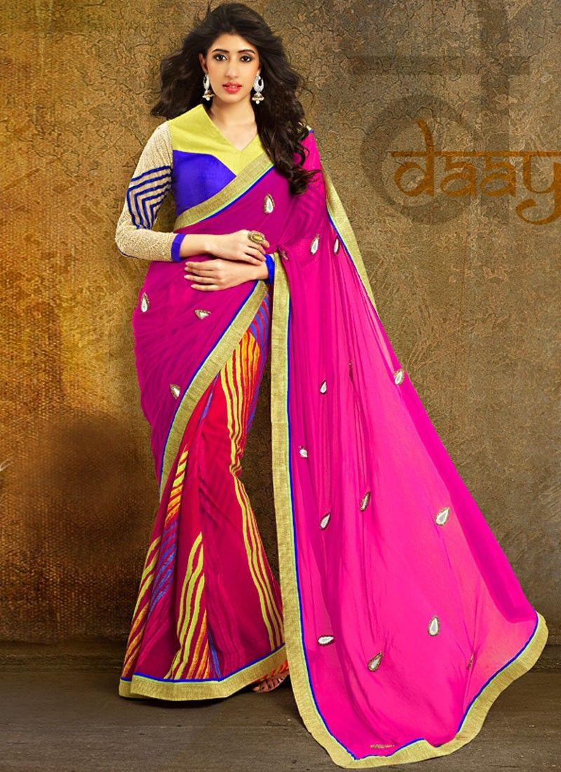 Multicolor Patch Border Printed Saree