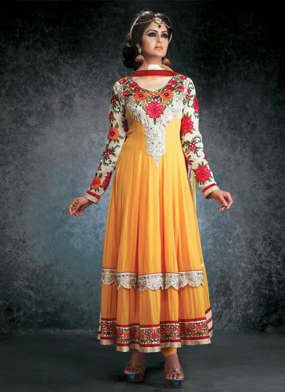 Mustard Resham Work Anarkali Suit