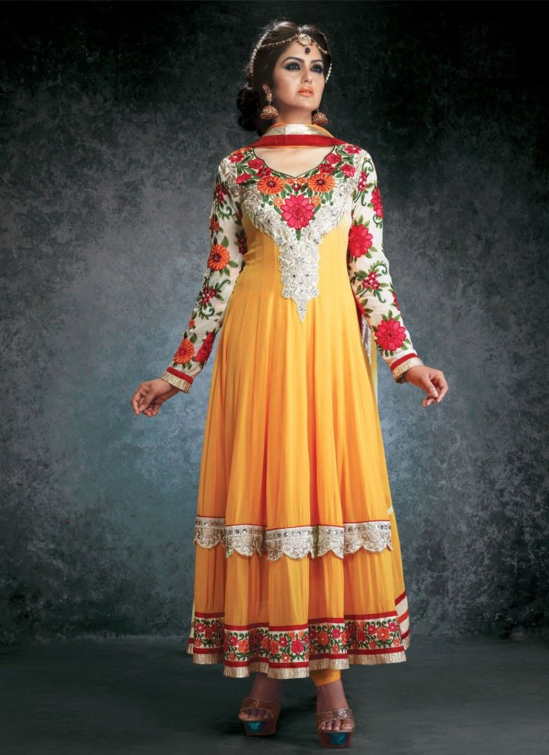 Mustard Resham Work Anarkali Suit