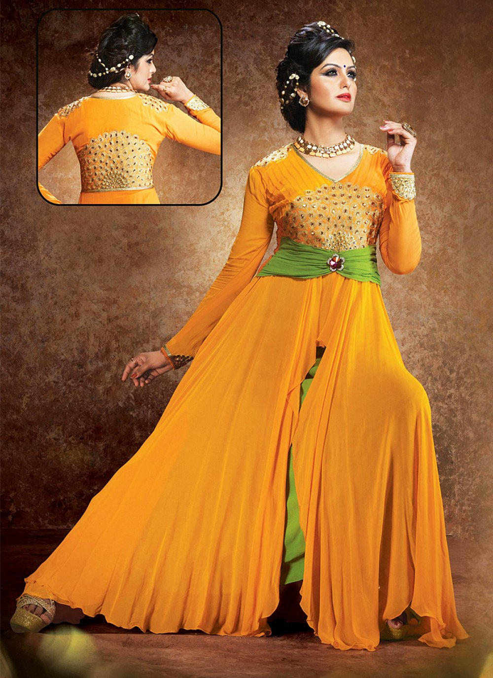 Mustard Resham Work Georgette Anarkali Suit