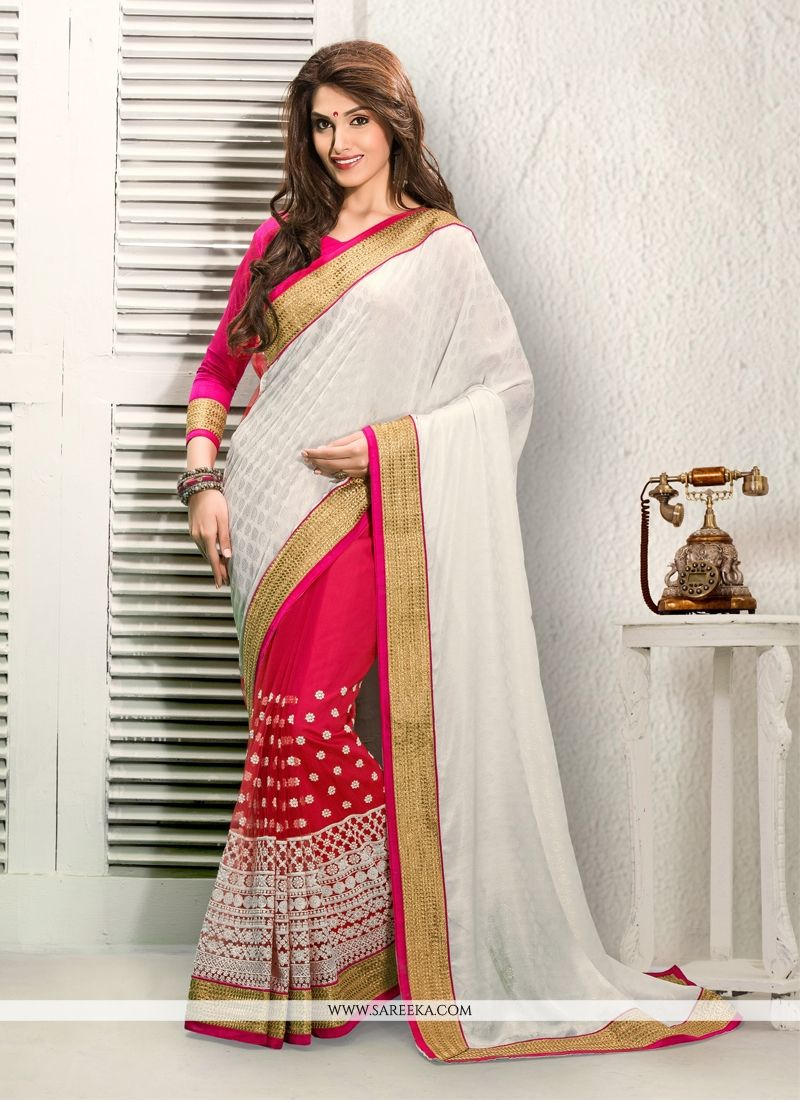 Off White And Pink Net Designer Saree