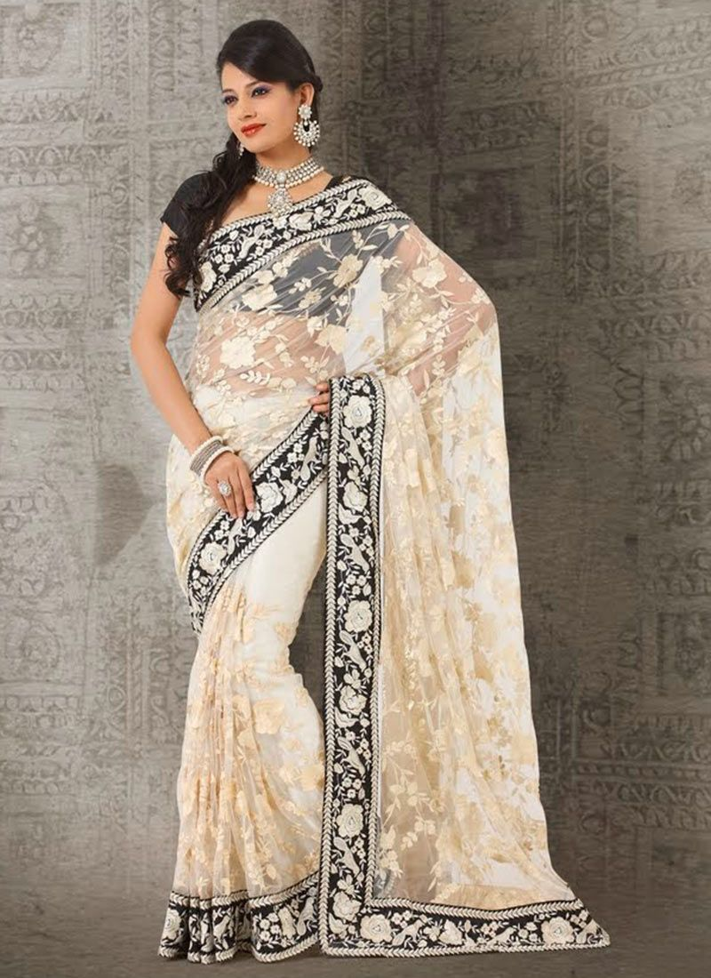 Off White Shaded Embroidery Work Net Saree