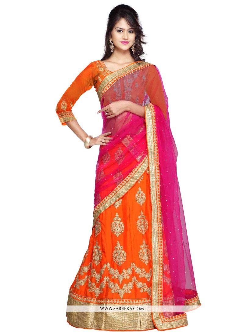 Orange Embroidered Work Faux Chiffon A Line Lehenga Choli