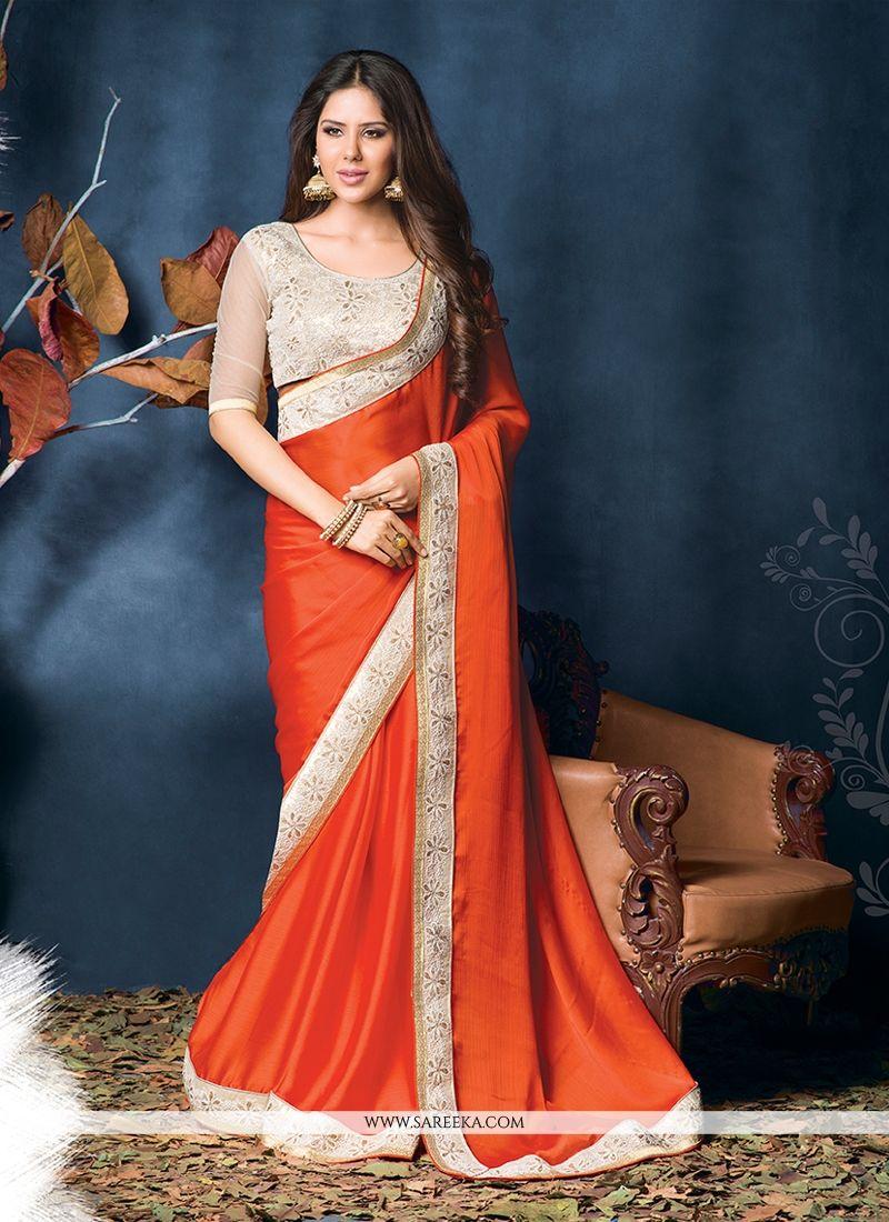 Orange Satin Chiffon Designer Saree