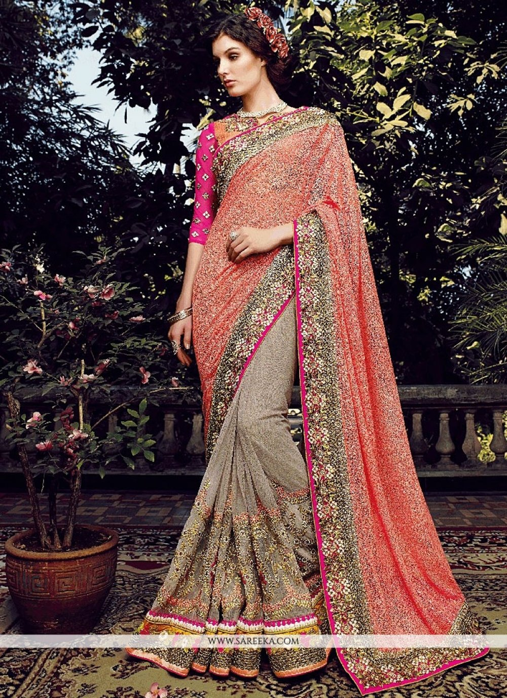 Peach And Grey Net Designer Saree