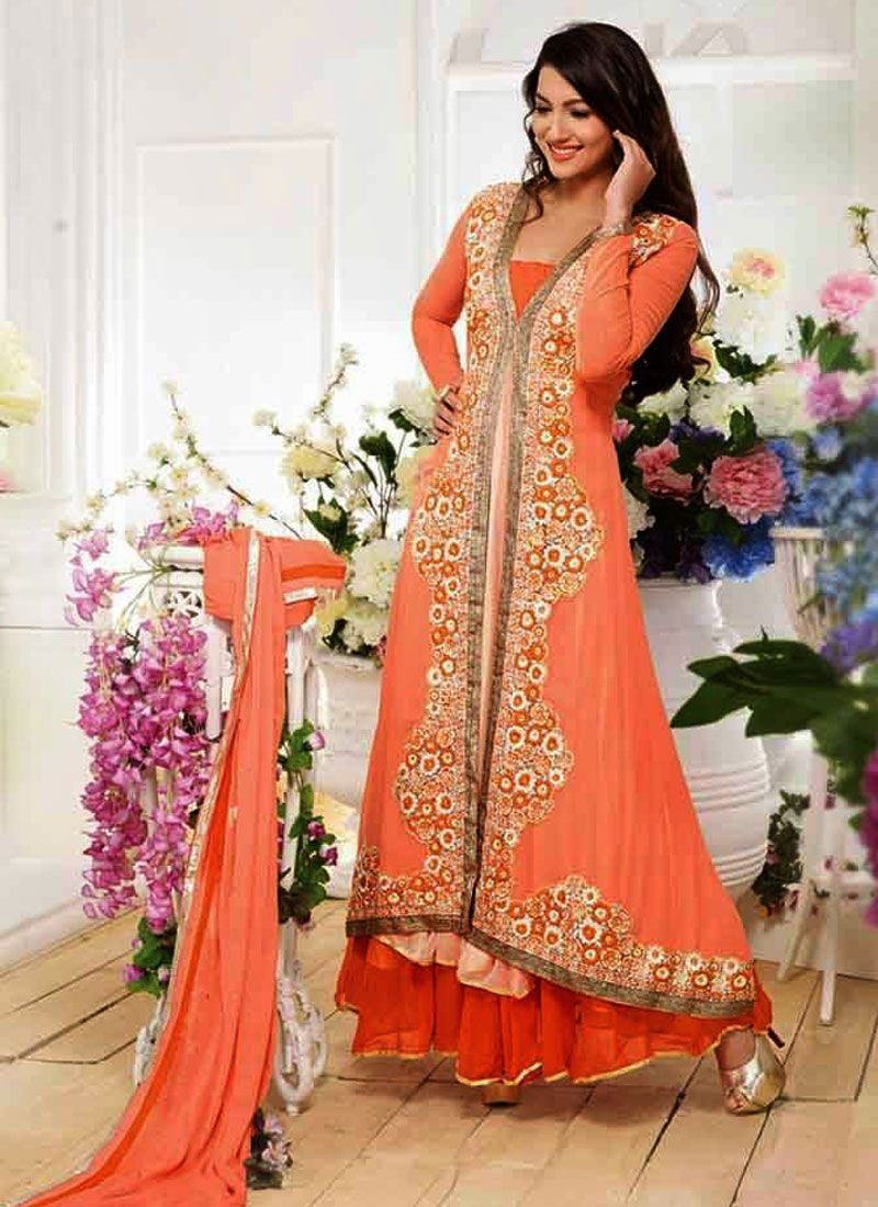 a5ff8c621e2 Peach And Orange Embroidery Work Net Anarkali Suit -