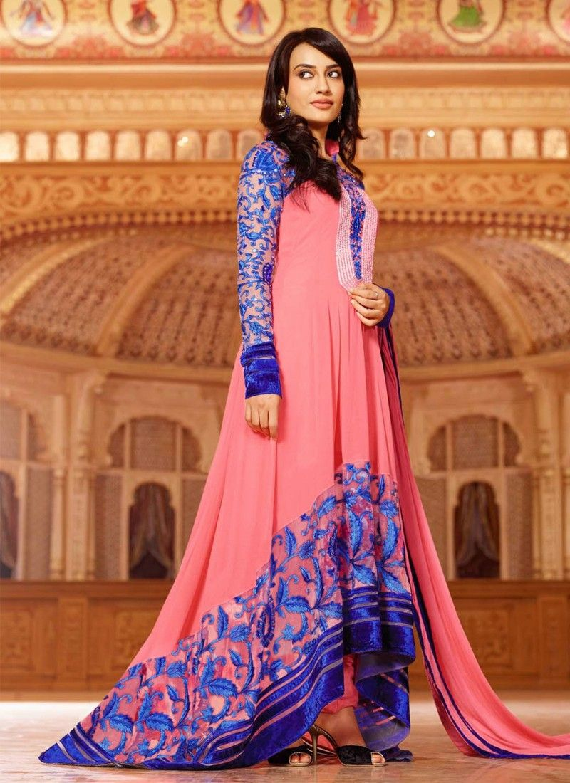 Pink And Blue Resham Work Faux Georgette Anarkail Suit