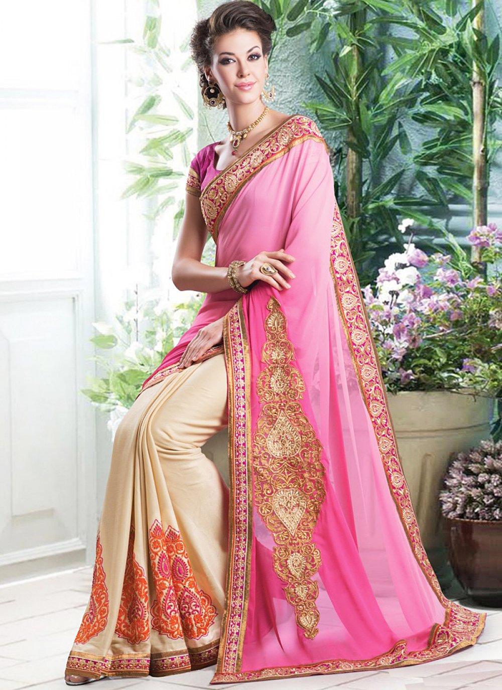 Pink And Cream Embroidery Half And Half Saree