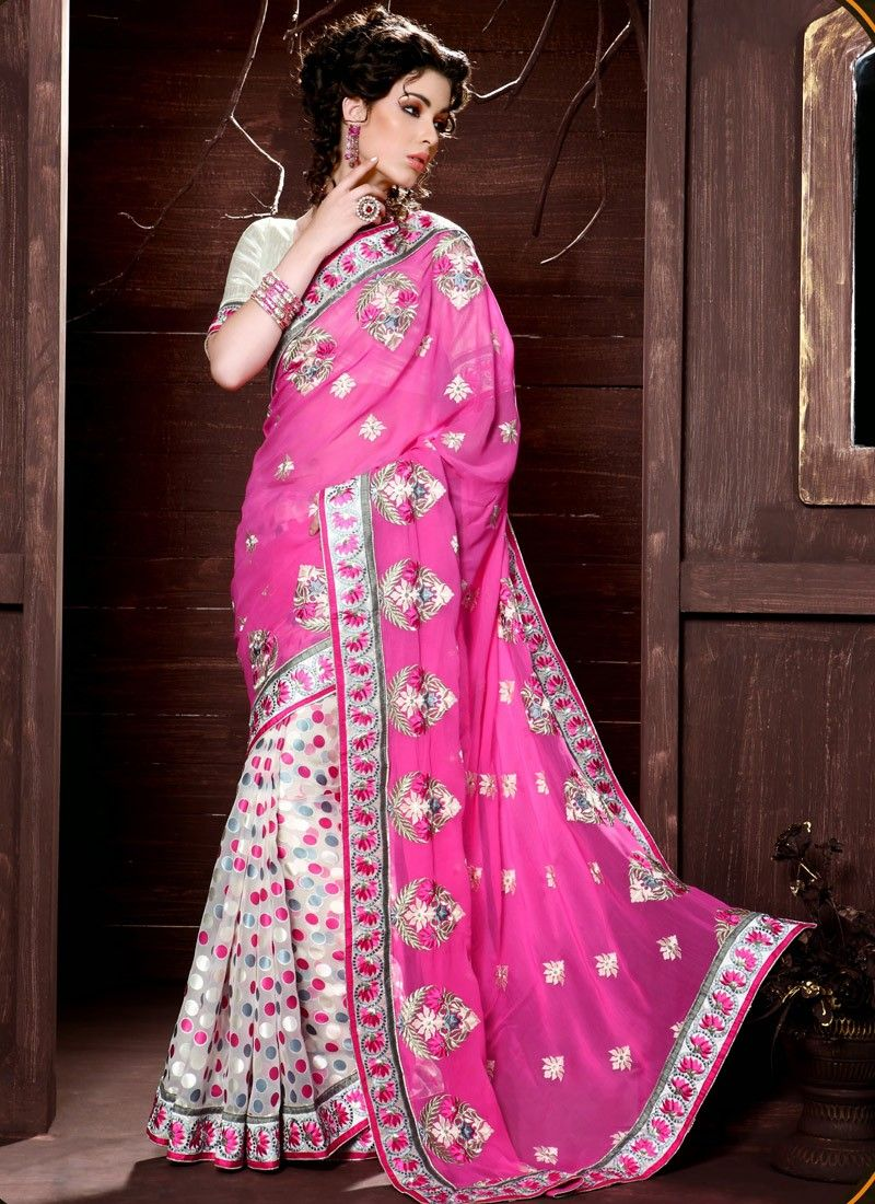 Pink And White Patch Border Work Half And Half Saree