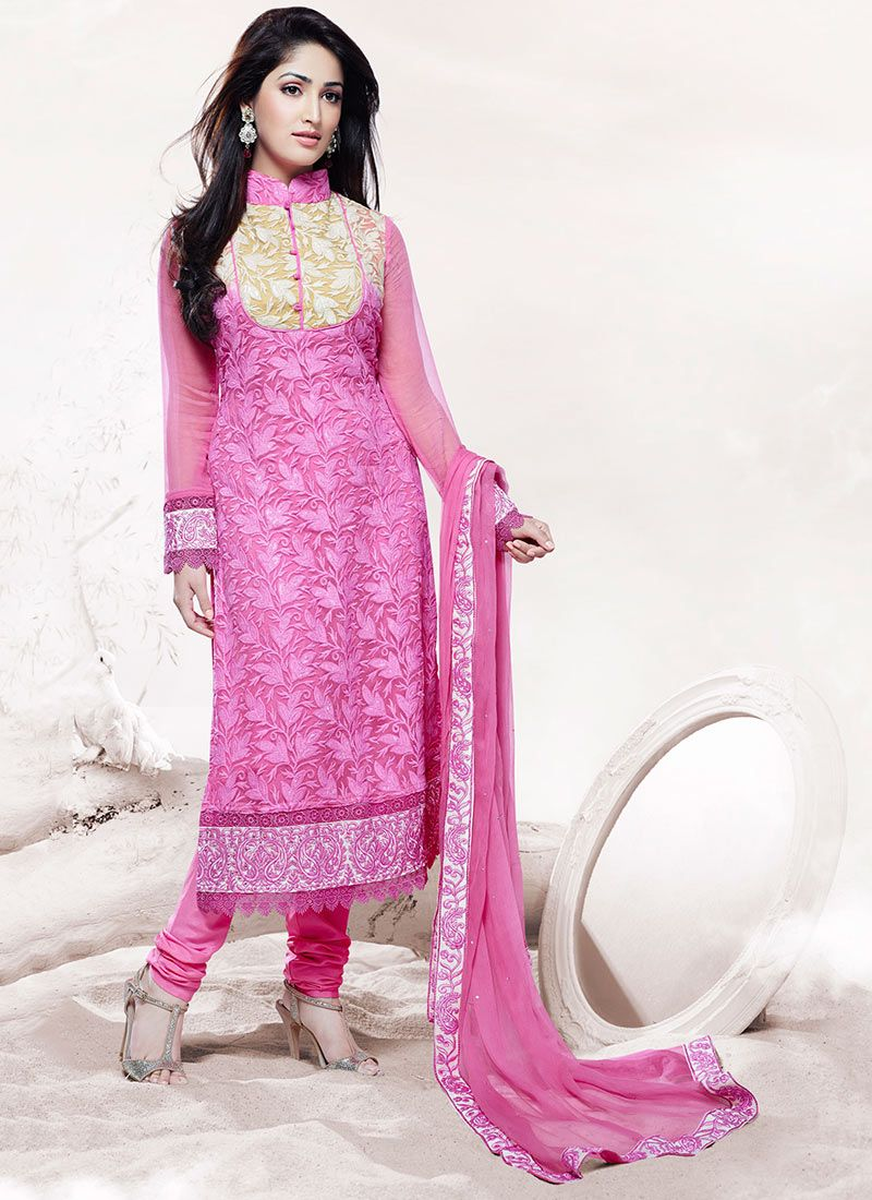 Pink Embroidered Work Churidar Suit