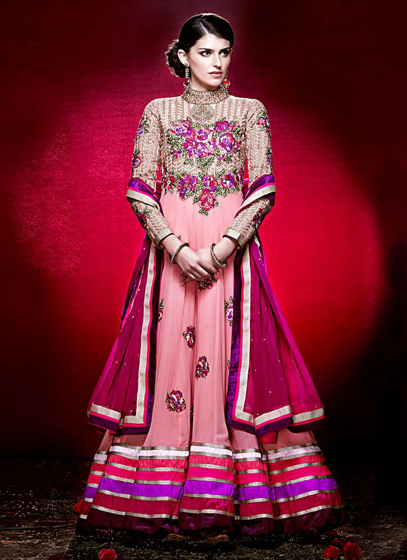Pink Resham Work Net Anarkali Suit