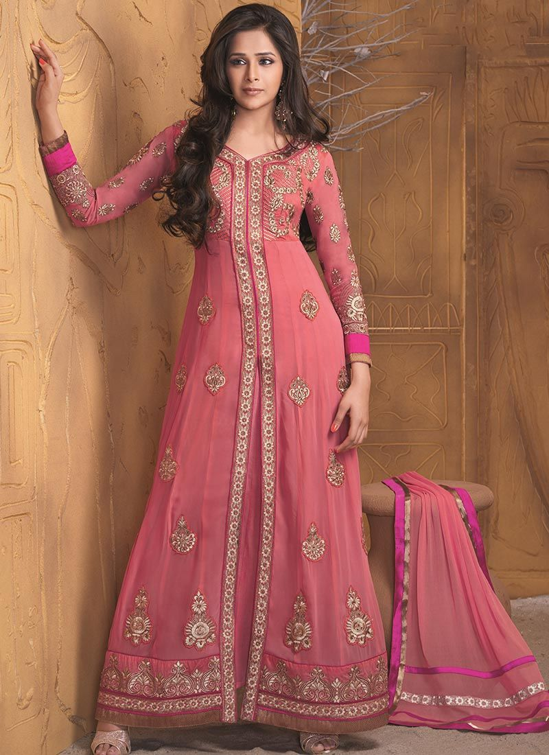 Pink Resham Work Net Length Anarkali Suit