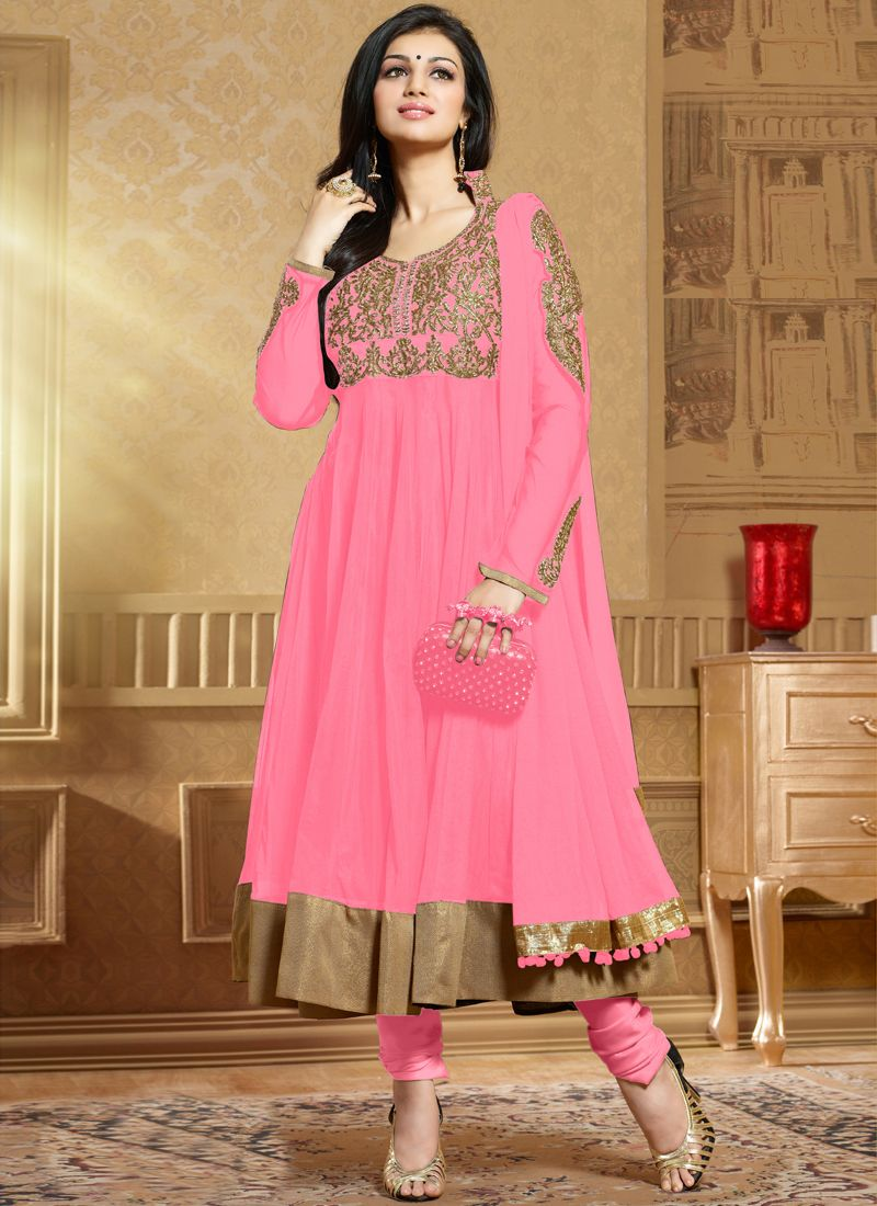 Pink Soft Net Anarkali Suit