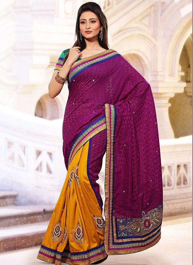 Purple And Mustard Half And Half Saree