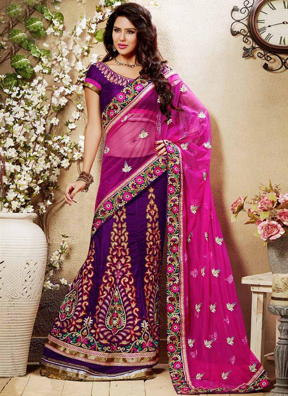 Purple Embroidered Velvet Lehenga Choli