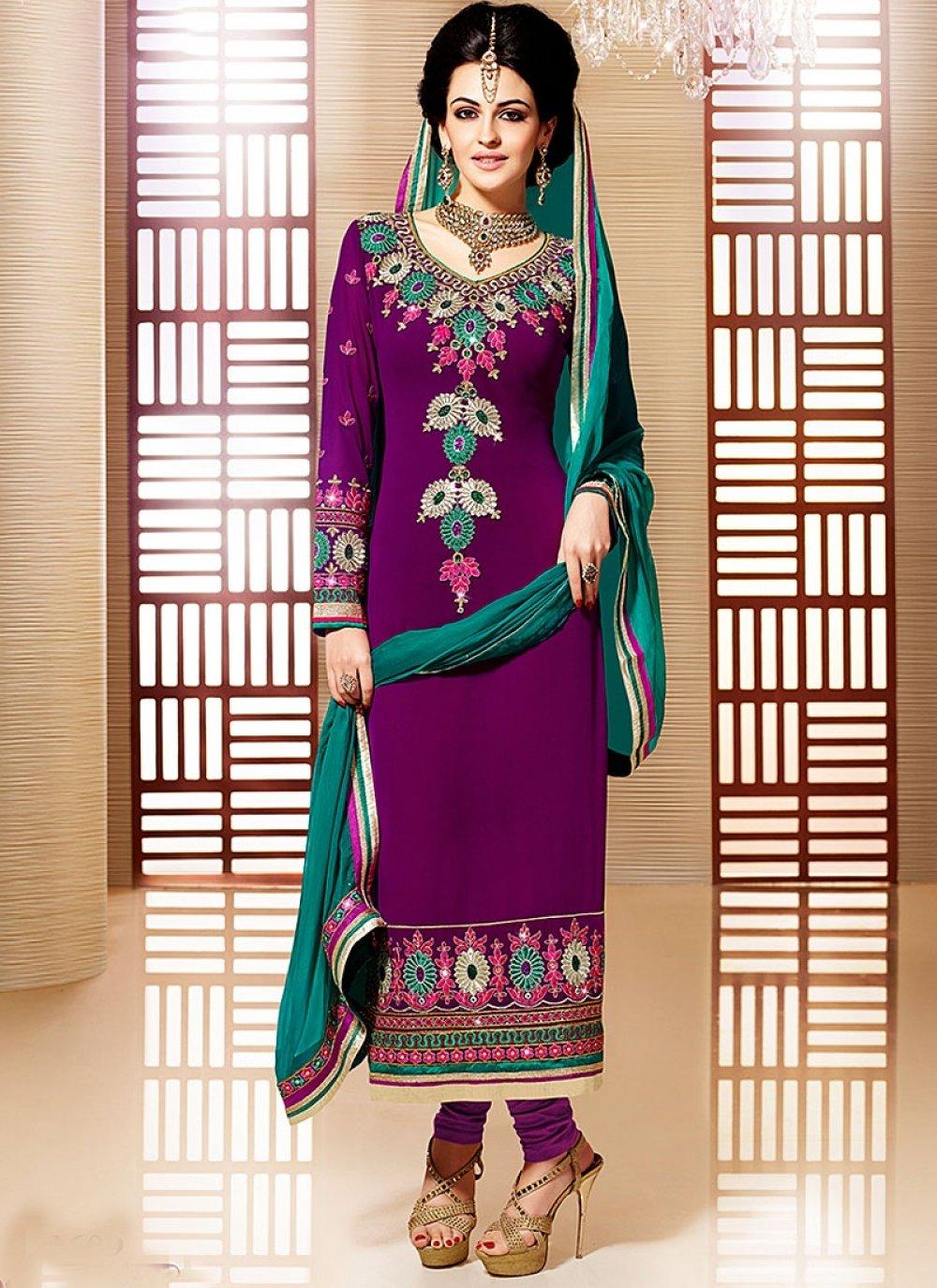 Purple Embroidery Work Faux Georgette Churidar Suit