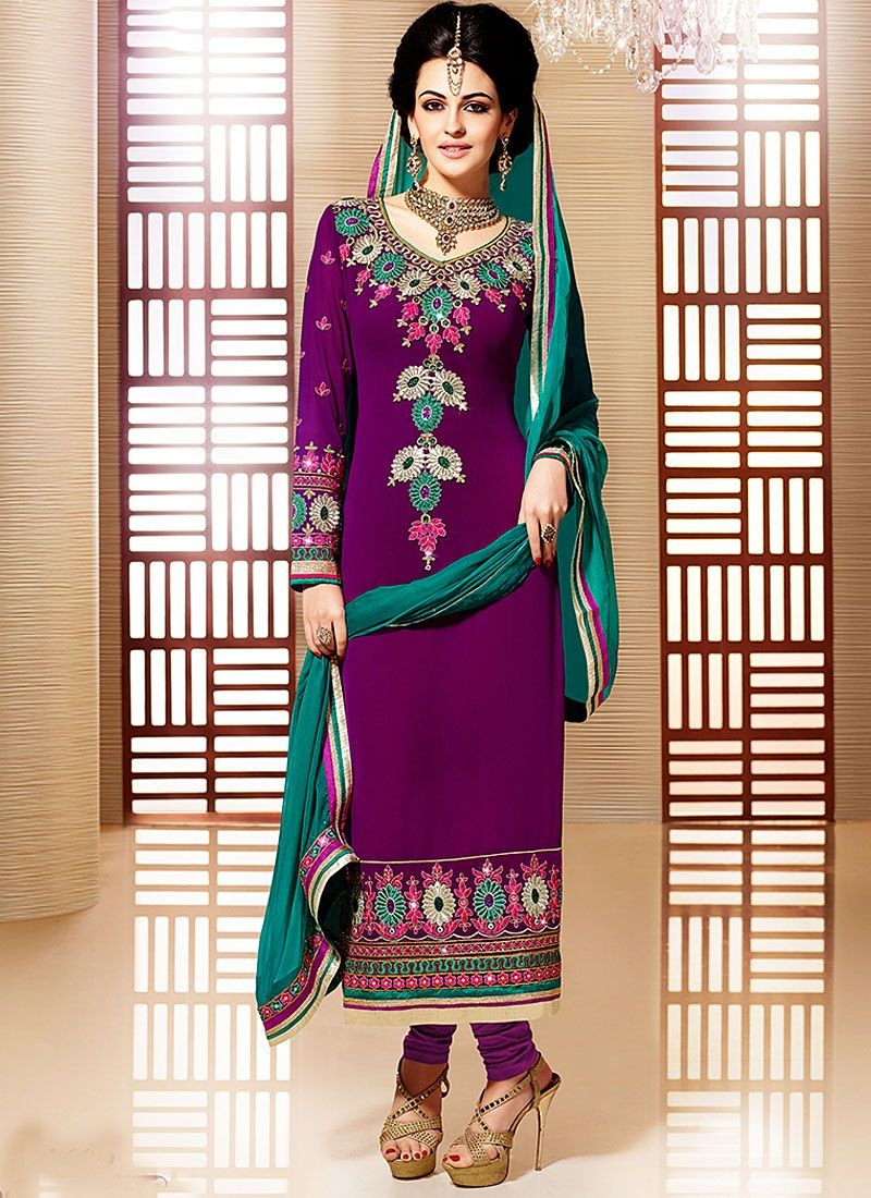 Purple Embroidery Work Faux Georgette Churidar Suit