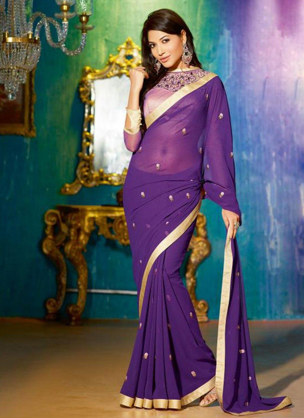 Purple Faux Georgette Designer Saree