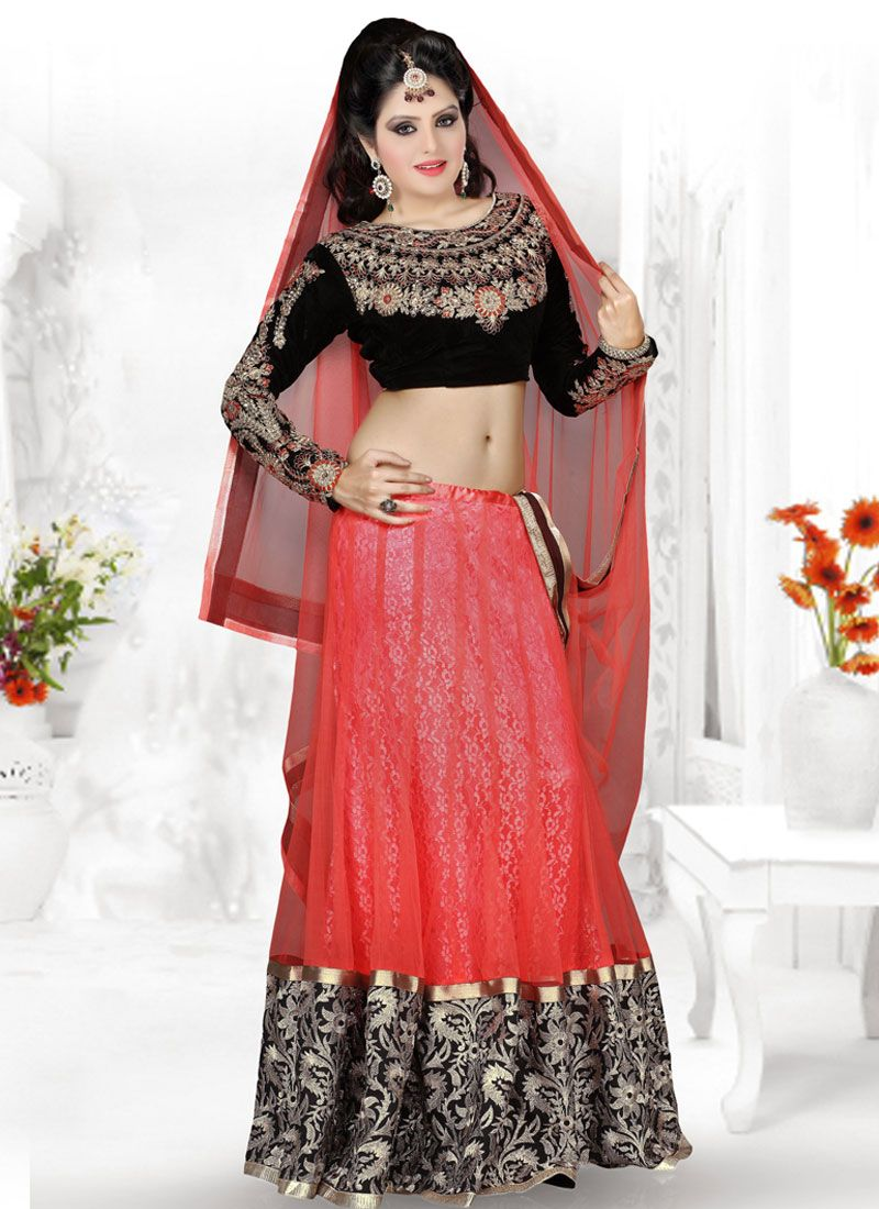 Red And Black Embroidery Work Net Lehenga Choli