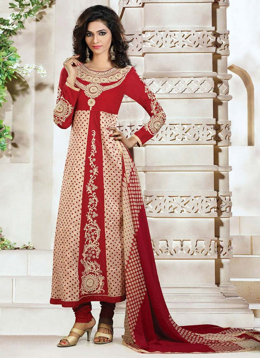 Red And Cream Printed Churidar Suit