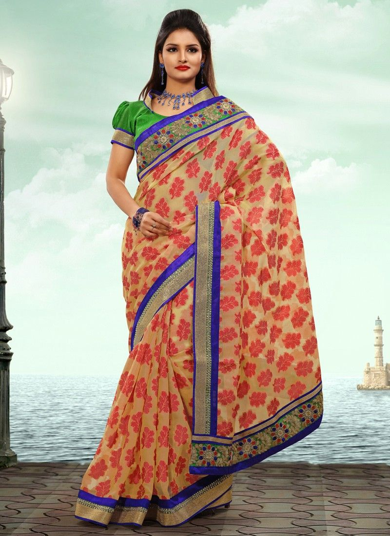 Red And Cream Resham Work Wedding Saree